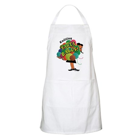 Knitting Takes Balls BBQ Apron