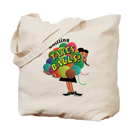 Knitting Takes Balls Tote Bag
