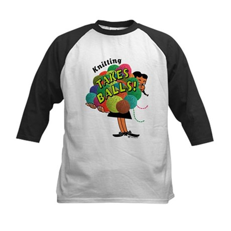Knitting Takes Balls Kids Baseball Jersey