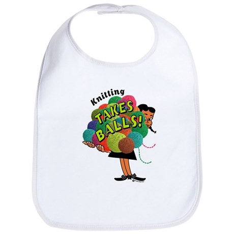 Knitting Takes Balls Bib