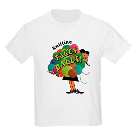 Knitting Takes Balls Kids Light T-Shirt