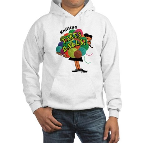 Knitting Takes Balls Hooded Sweatshirt