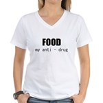FOOD MY ANTI-DRUG Women's V-Neck T-Shirt