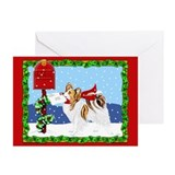 Christmas Papillon Mail Sable Greeting Cards (Pk o