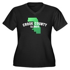 Crook County Women's Plus Size V-Neck Dark T-Shirt