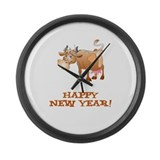 Happy New Year Cow Large Wall Clock