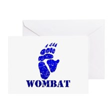 Blue Wombat Footprint Greeting Card
