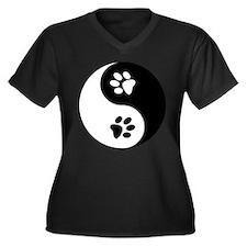 Yin Yang Paws Women's Plus Size V-Neck Dark T-Shir