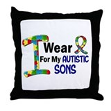 I Wear Puzzle Ribbon 21 (Sons) Throw Pillow