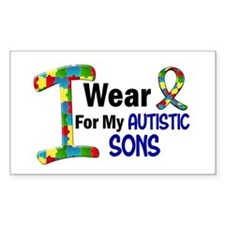 I Wear Puzzle Ribbon 21 (Sons) Rectangle Decal
