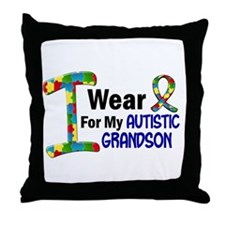 I Wear Puzzle Ribbon 21 (Grandson) Throw Pillow