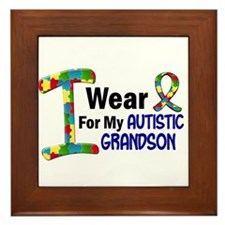 I Wear Puzzle Ribbon 21 (Grandson) Framed Tile