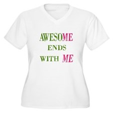 Awesome Ends With Me Women's Plus Size V-Neck Tee