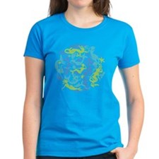 Womens 10 Mermaid Dark tee shown in Caribbean Blue