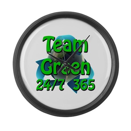 Team Green 24/7 365 Large Wall Clock