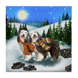 BEARDED COLLIE DOGS WINTER DAY Tile Coaster