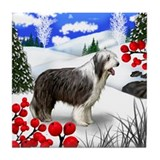 BEARDED COLLIE DOG WINTER BERRIES Tile Coaster