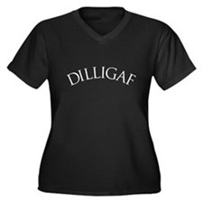 DILLIGAF Women's Plus Size V-Neck Dark T-Shirt