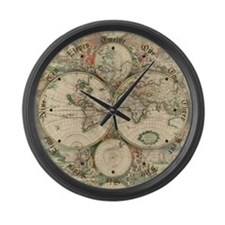 1689 World Map Large Wall Clock