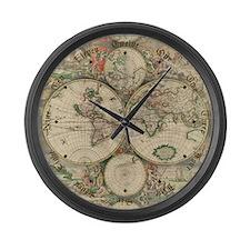 1689 World Map Large Wall Clock
