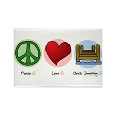 Peace Love Dock Jumping Rectangle Magnet