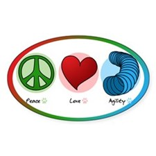 Peace Love Dog Agility Oval Decal