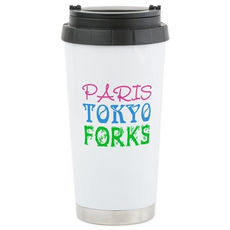 Paris Tokyo Forks Ceramic Travel Mug