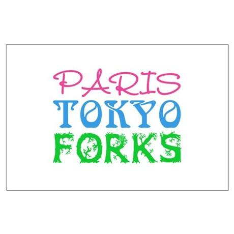Paris Tokyo Forks Large Poster