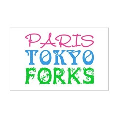 Paris Tokyo Forks Mini Poster Print