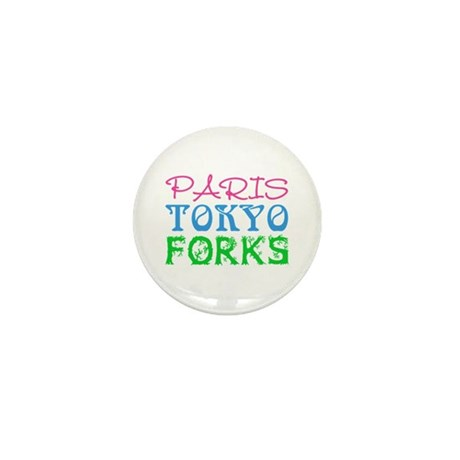 Paris Tokyo Forks Mini Button