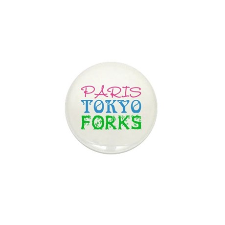 Paris Tokyo Forks Mini Button (10 pack)