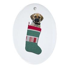 Puggle Christmas Oval Ornament