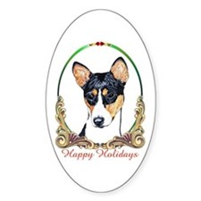 Basenji Dog Holiday Oval Decal