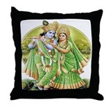 Radha and Krishna in GreenThrow Pillow