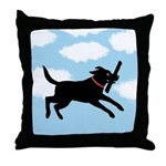 Playful Black Lab Throw Pillow