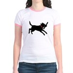 Playful Black Lab Jr. Ringer T-Shirt