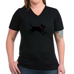 Playful Black Lab Women's V-Neck Dark T-Shirt