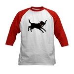 Playful Black Lab Kids Baseball Jersey