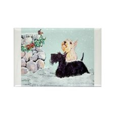 Scotties and Wren Winter Rectangle Magnet (10 pack