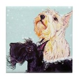 Scottish Terrier Winter Tile Coaster