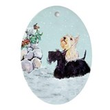 Scottish Terrier Winter Oval Ornament