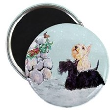 Scotties and Wren Winter Magnet