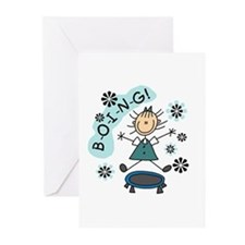 Girl on Trampoline Greeting Cards (Pk of 10)