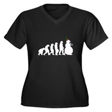 Snowman Evolution Women's Plus Size V-Neck Dark T-