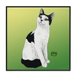 Black and white cat Tile Coaster