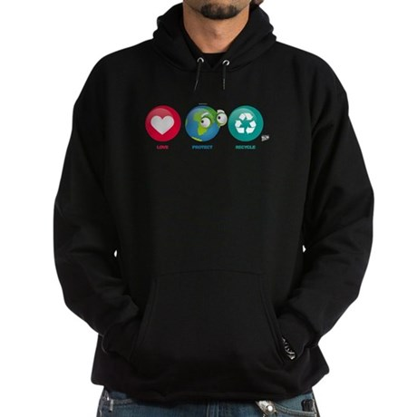 Love, Protect, Recycle Hoodie (dark)