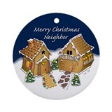Merry Christmas Neighbor Ornament (Round)