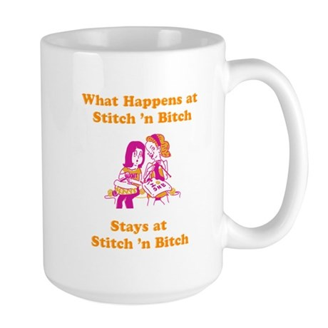 What Happens at Stitch 'n bit Large Mug