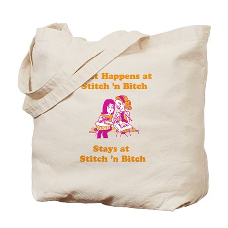 What Happens at Stitch 'n bit Tote Bag