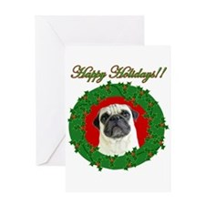 Happy Holidays Pug Greeting Card